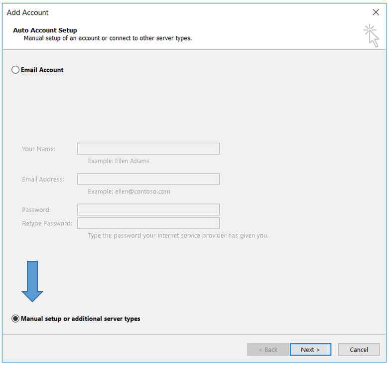 Add eMail Account in Outlook