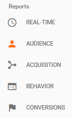 The Main Report Categories for Google Analytics