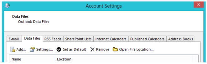 Account Settings Data Files tab - Outlook