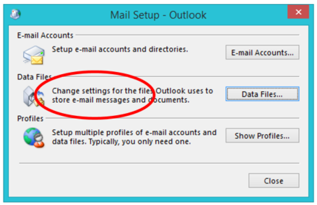 Mail Setup Panel in Outlook
