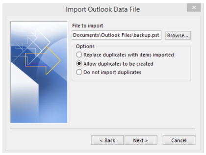 Outlook File Import Options