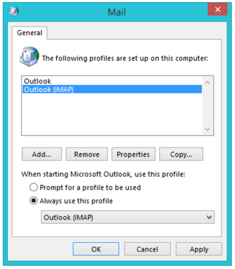 Outlook Profile Settings Panel