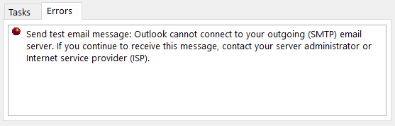 Outlook cannot account to your Outgoing (SMTP) email server.