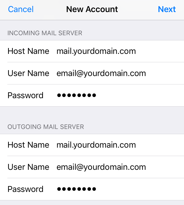 SMTP Configuration for New iPhone Email Account