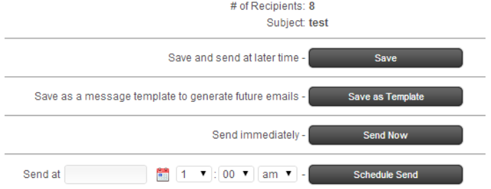 Broadcast Email Send Options